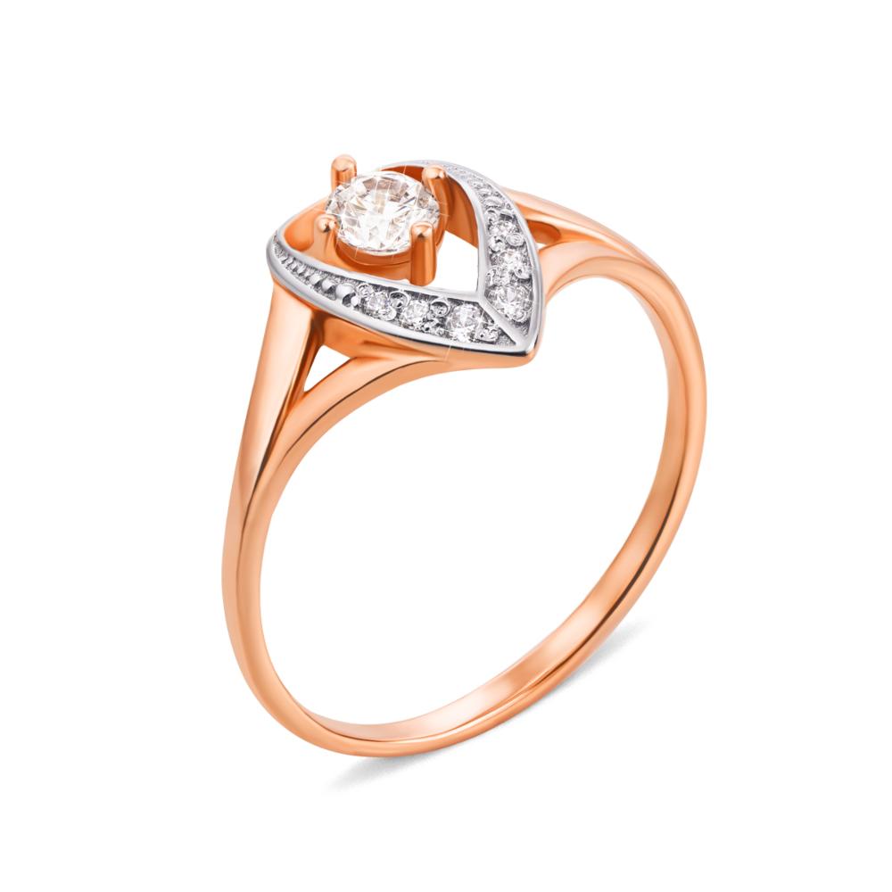 Золотое кольцо с фианитами. Артикул 12517 сп