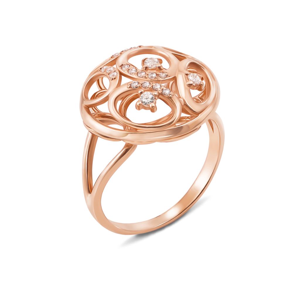 Золотое кольцо с фианитами. Артикул 12519 с