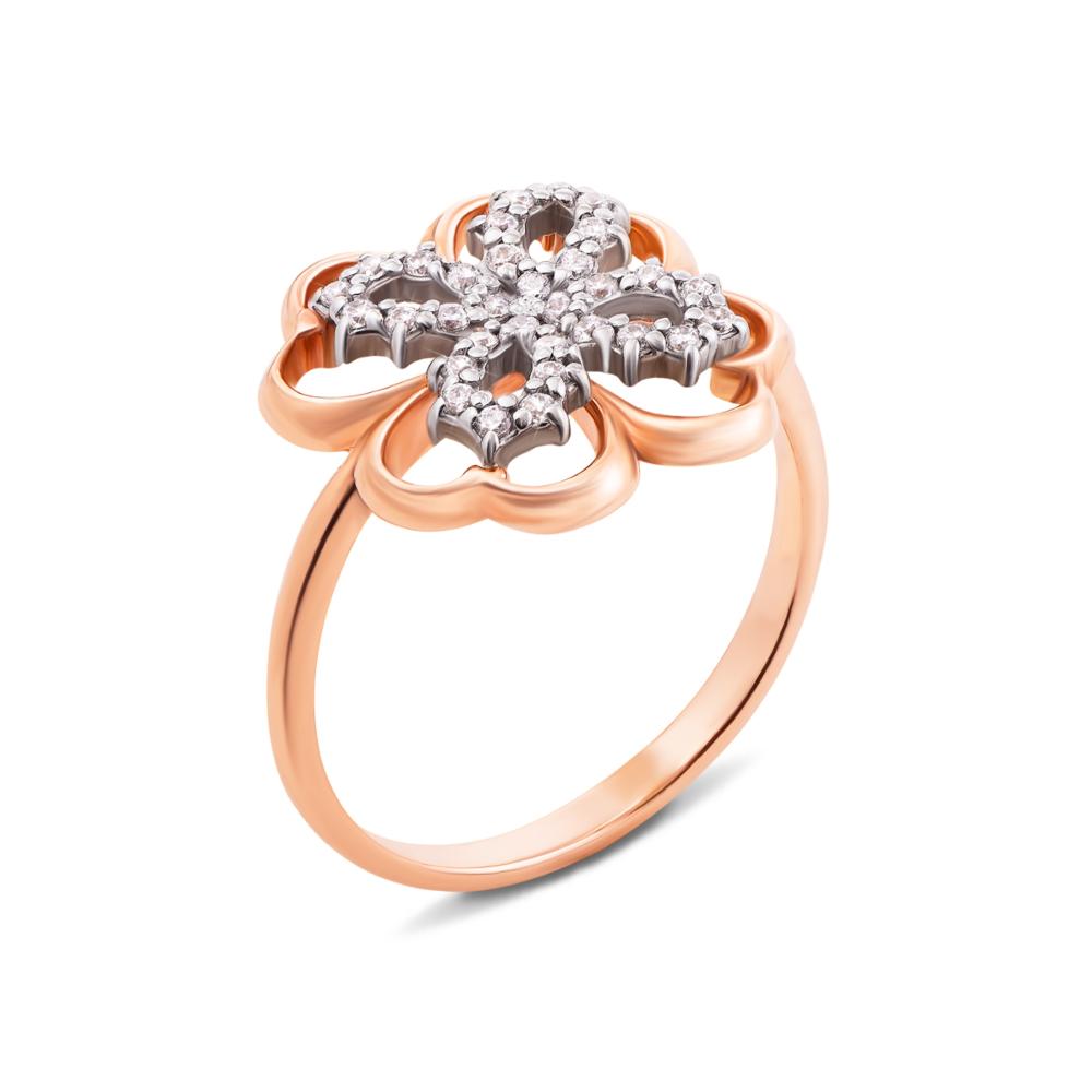 Золотое кольцо с фианитами. Артикул 12523