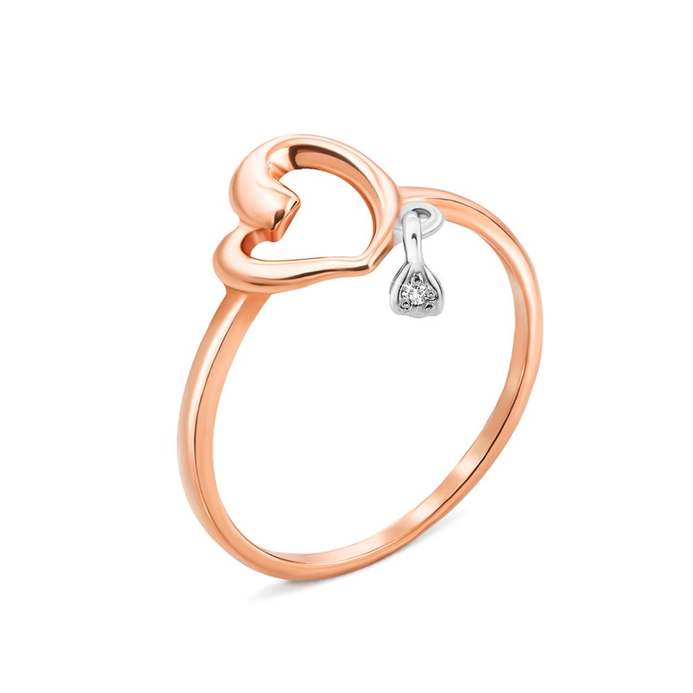 Золотое кольцо «Сердце» с фианитом. Артикул 12525 п