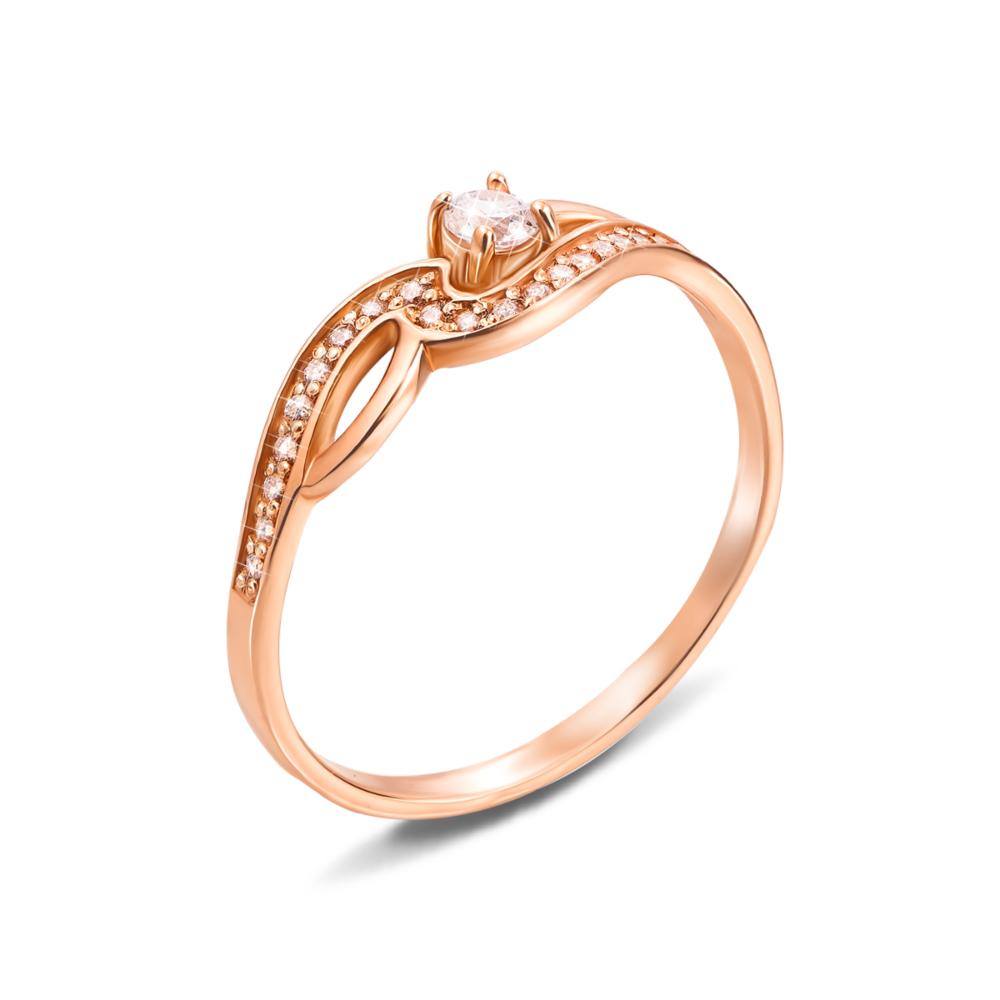 Золотое кольцо с фианитами. Артикул 12530