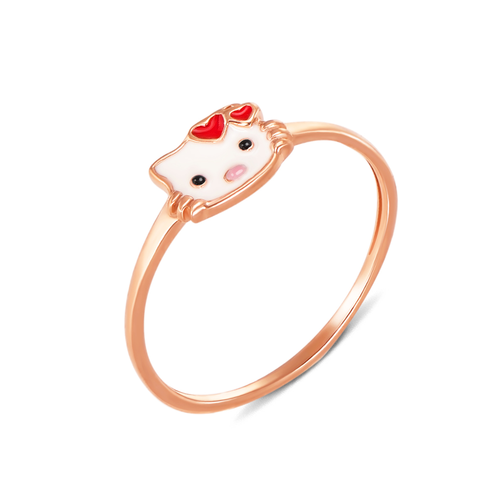 "Золотое кольцо с эмалью ""Нello Kitty""  Артикул 12531 сп"