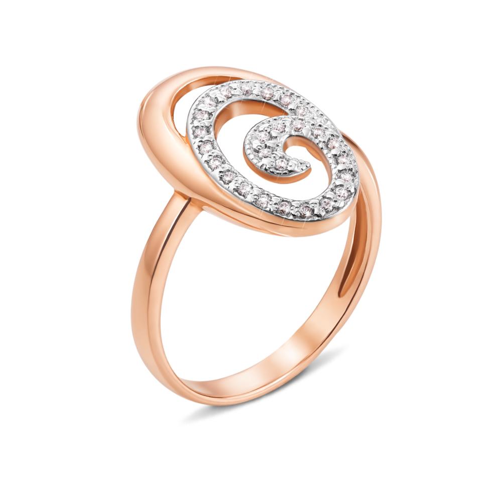 Золотое кольцо с фианитами. Артикул 12532 сп