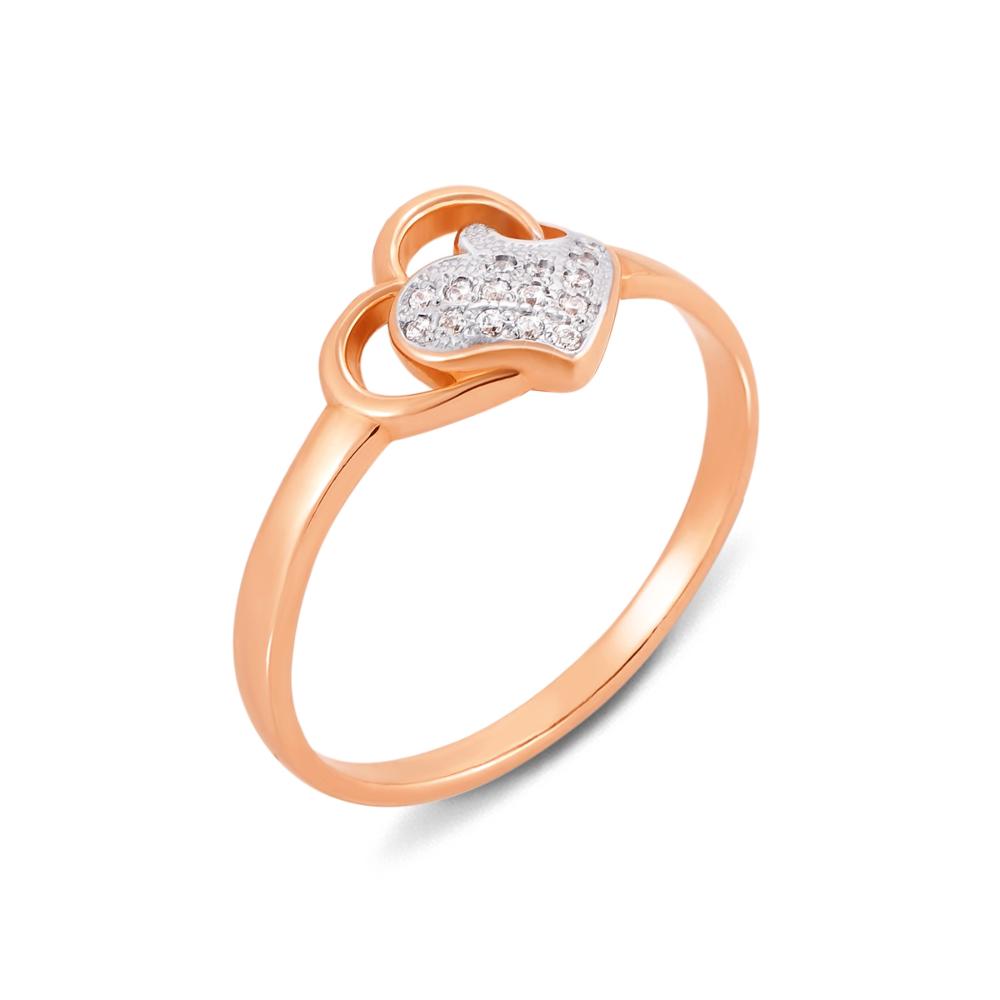 Золотое кольцо с фианитами. Артикул 12536 п