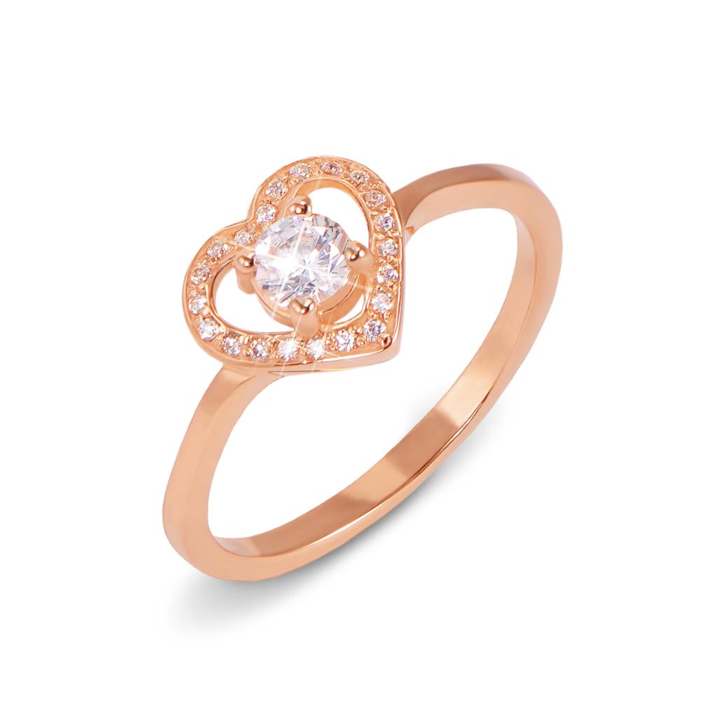Золотое кольцо с фианитами. Артикул 12538