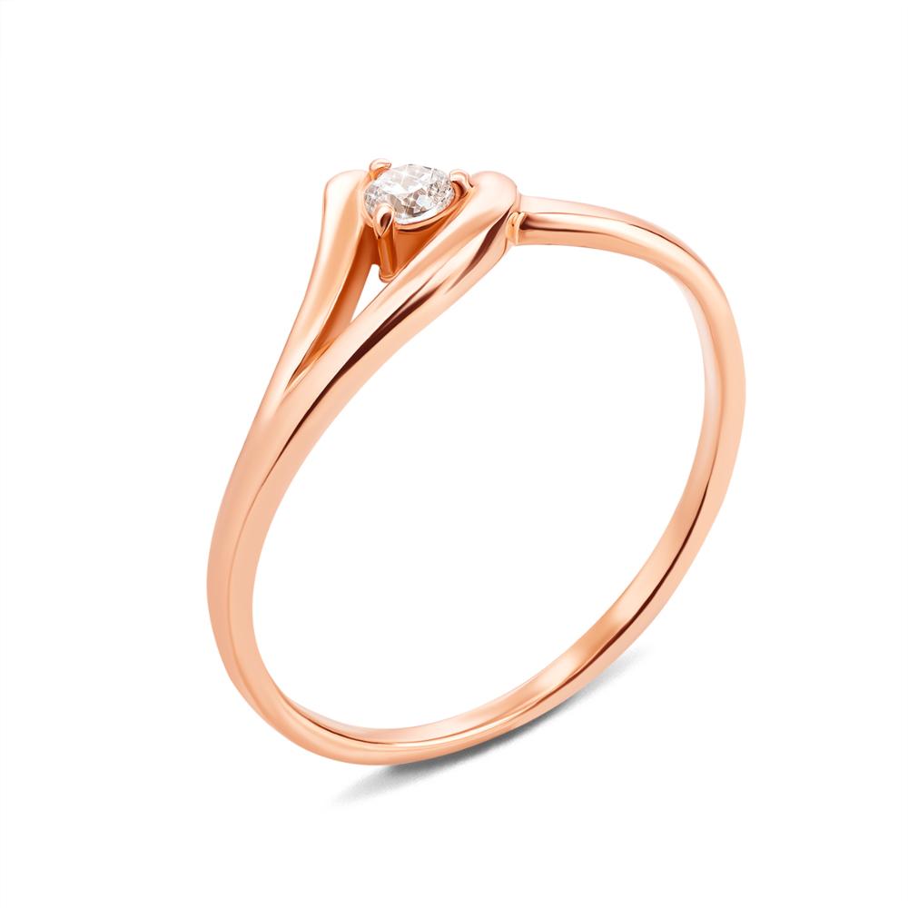 Золотое кольцо с фианитом. Артикул 12547