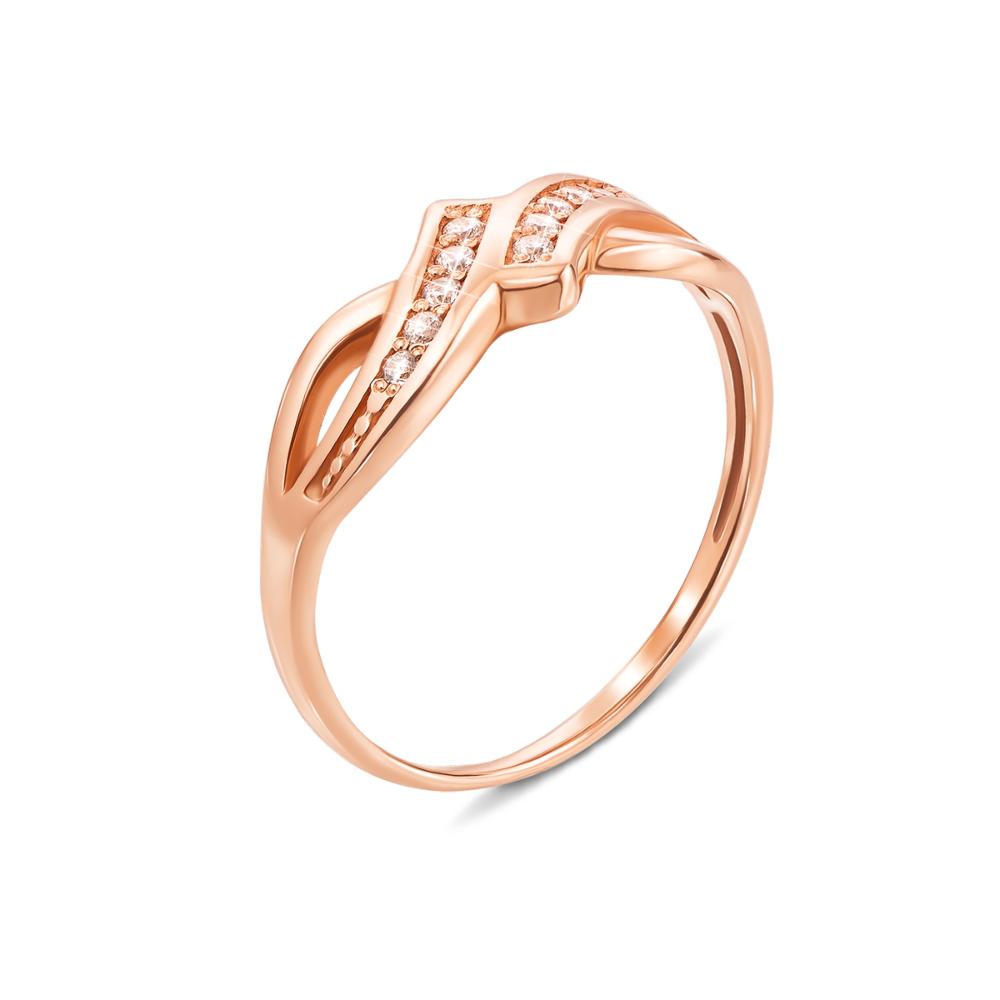 Золотое кольцо с фианитами. Артикул 12564