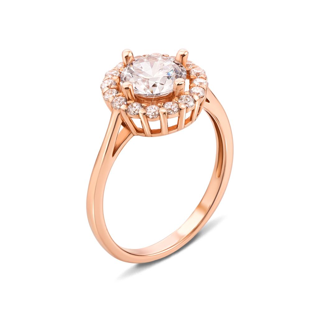 Золотое кольцо с фианитами. Артикул 12568 с п