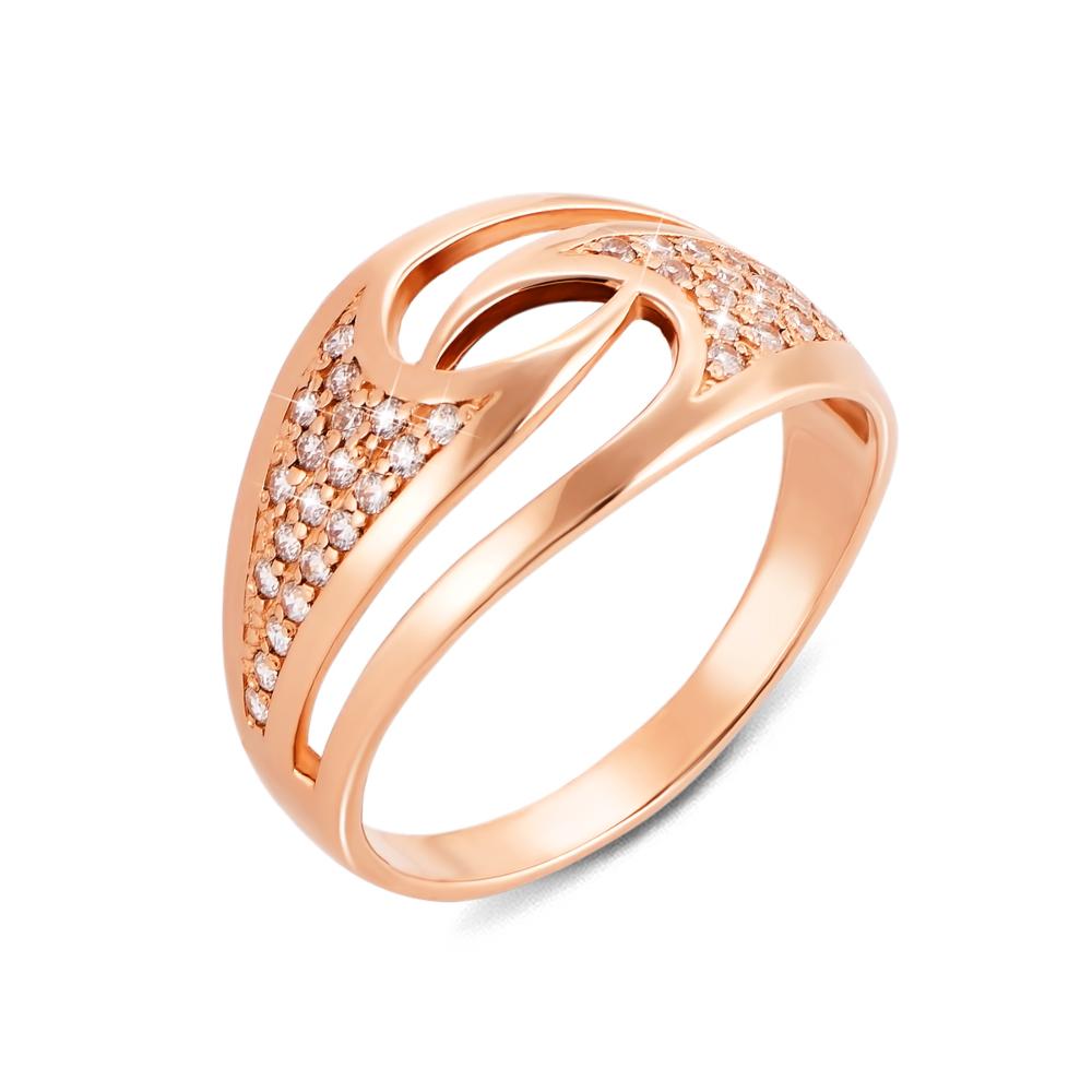 Золотое кольцо с фианитами. Артикул 12582
