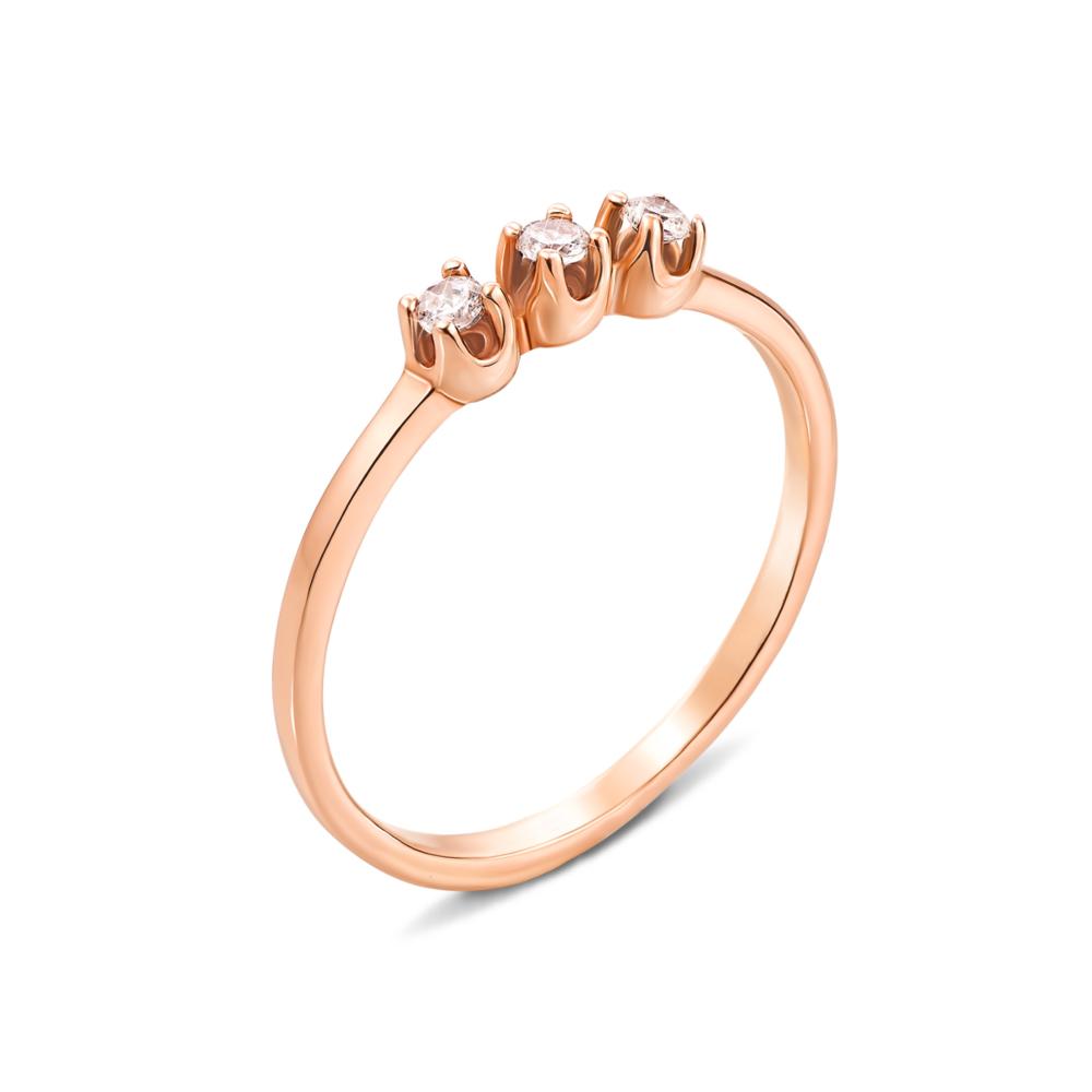 Золотое кольцо с фианитами. Артикул 12585