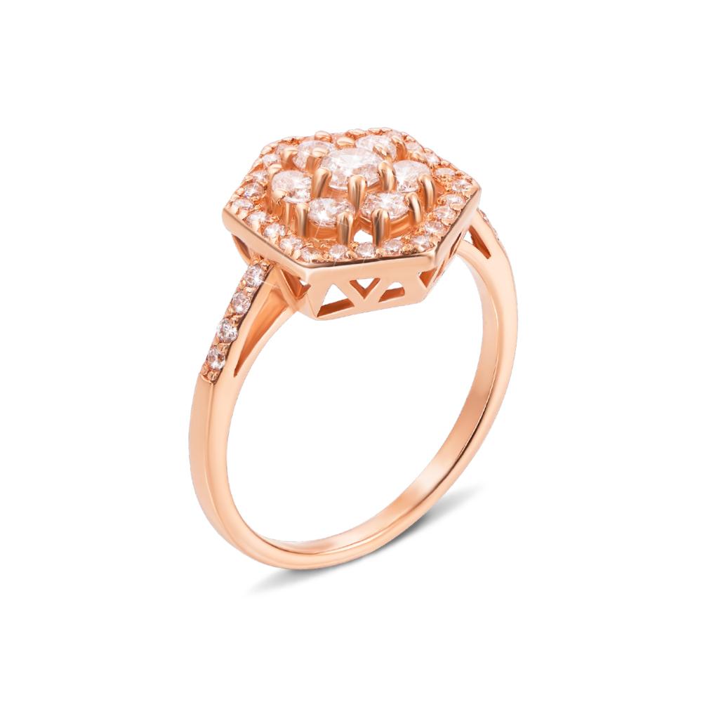 Золотое кольцо с фианитами. Артикул 12591 сп