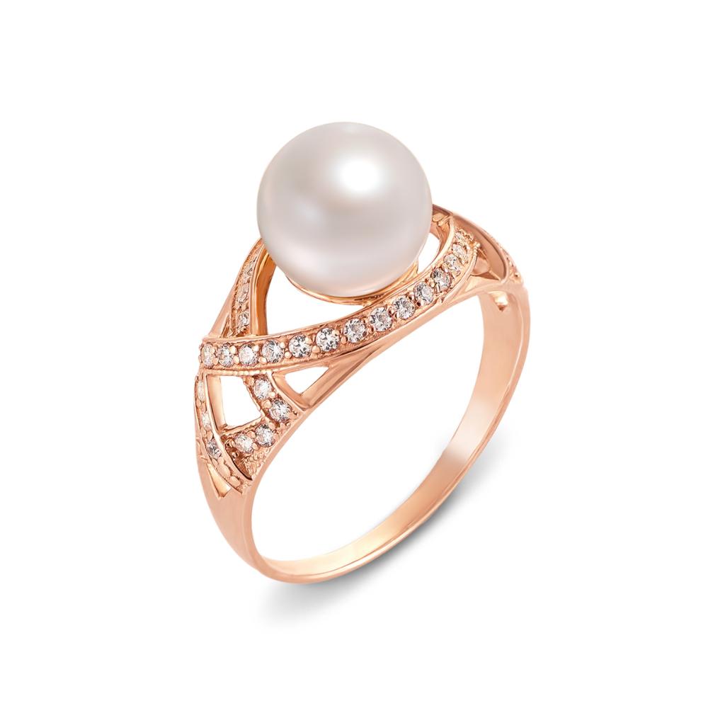 Золотое кольцо с жемчугом и фианитами. Артикул 12592
