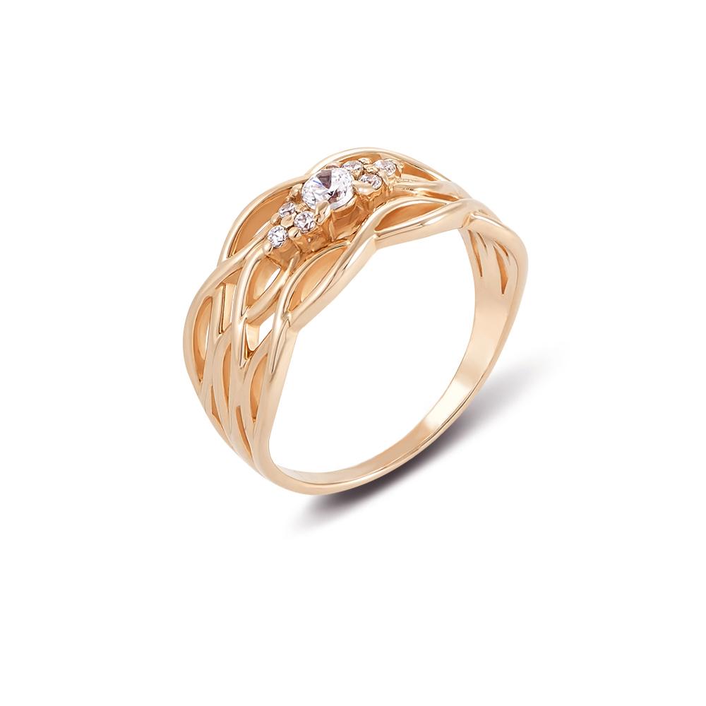 Золотое кольцо с фианитами. Артикул 12599