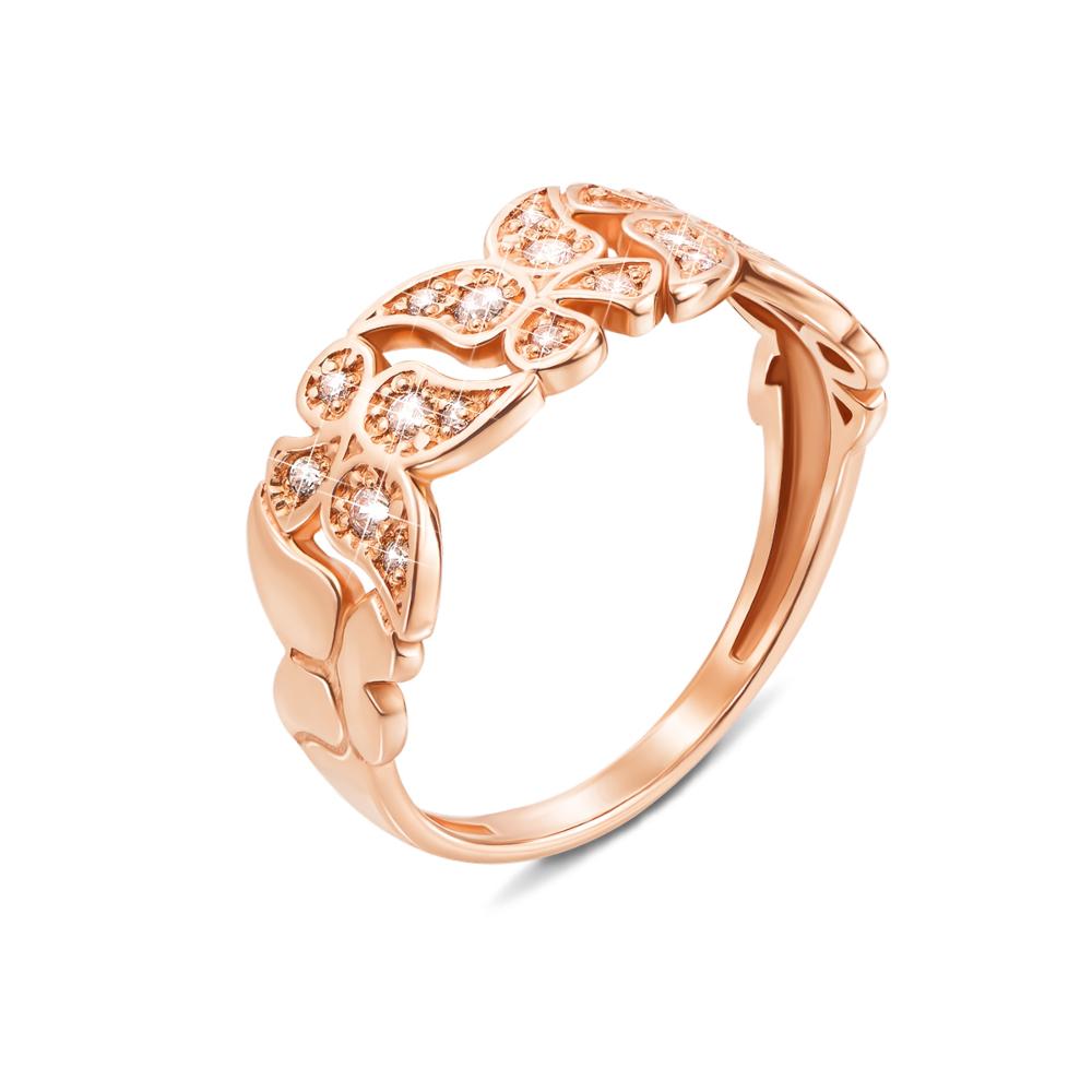 Золотое кольцо с фианитами. Артикул 12602