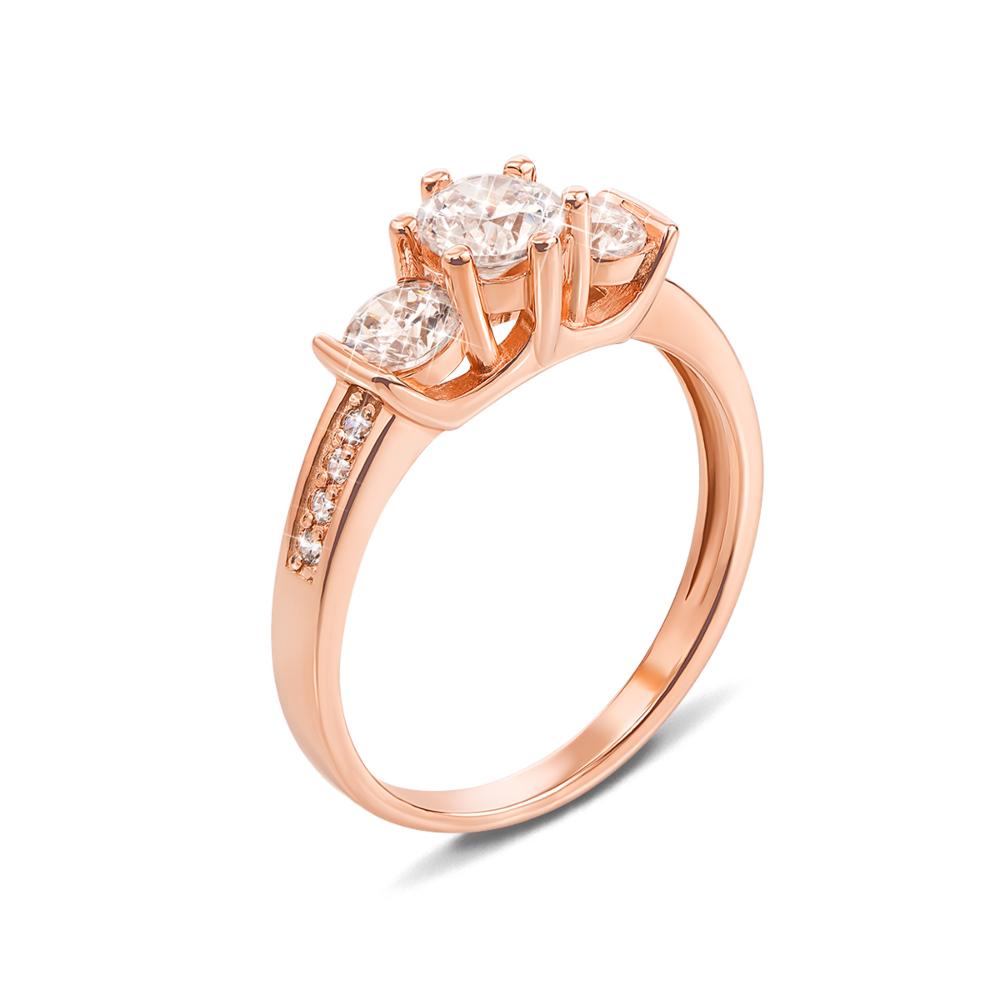 Золотое кольцо с фианитами. Артикул 12606