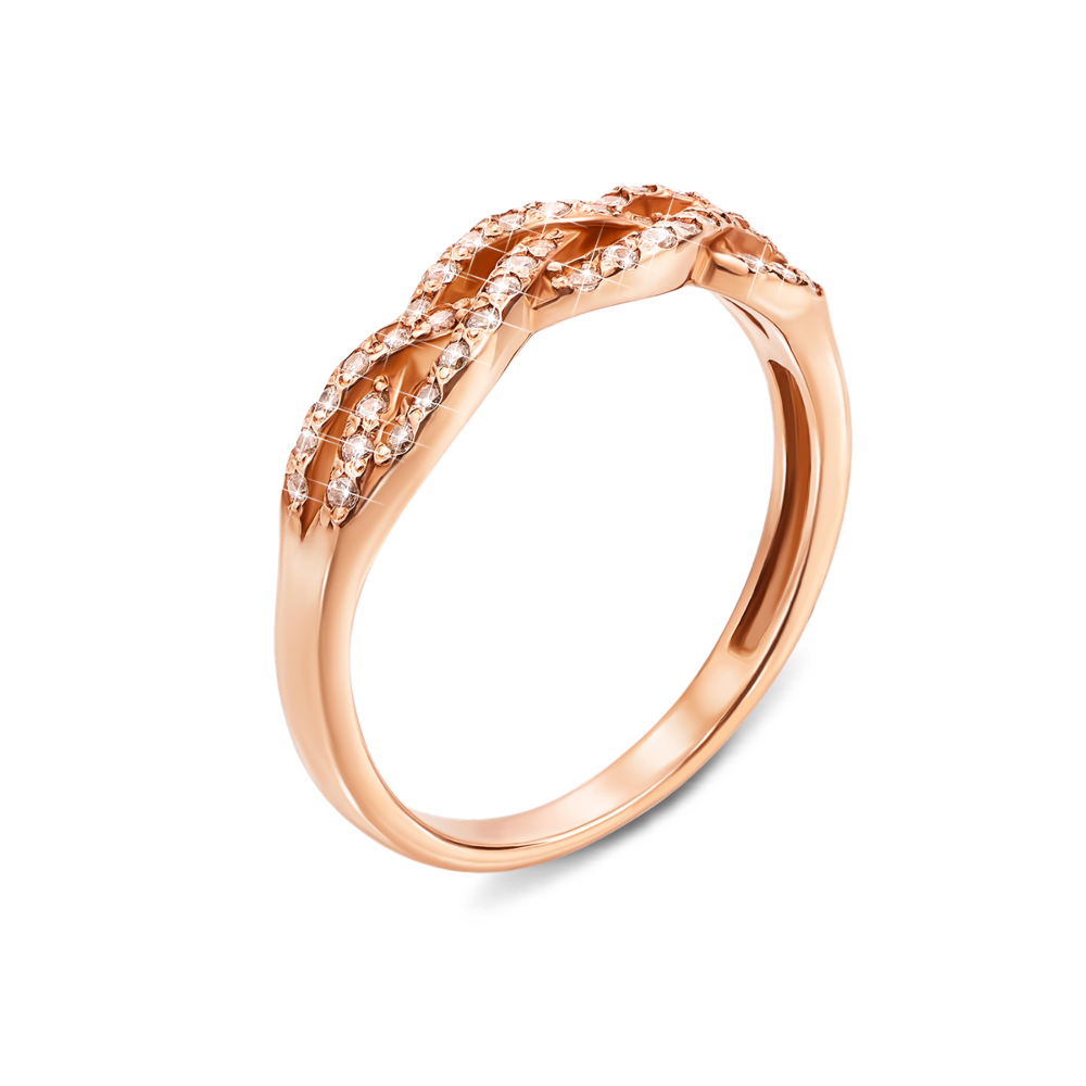 Золотое кольцо с фианитами. Артикул 12607 с
