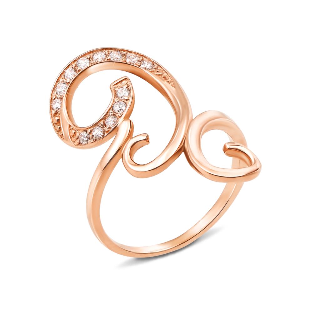 Золотое кольцо с фианитами. Артикул 12610