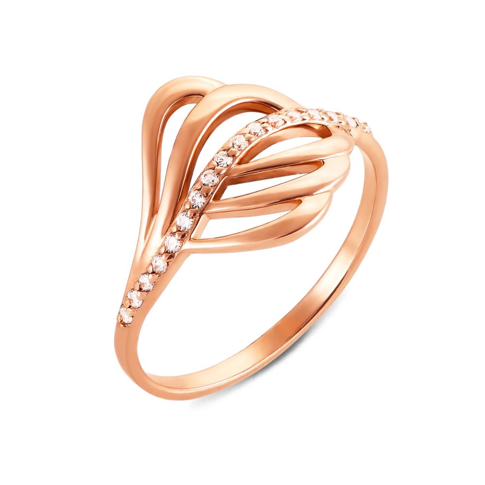 Золота каблучка з фіанітами. Артикул 12623 п