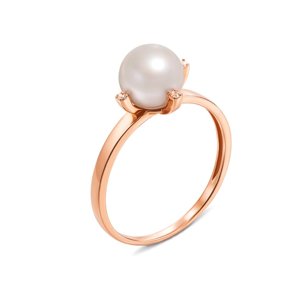 Золотое кольцо с жемчугом и фианитами. Артикул 12624 с