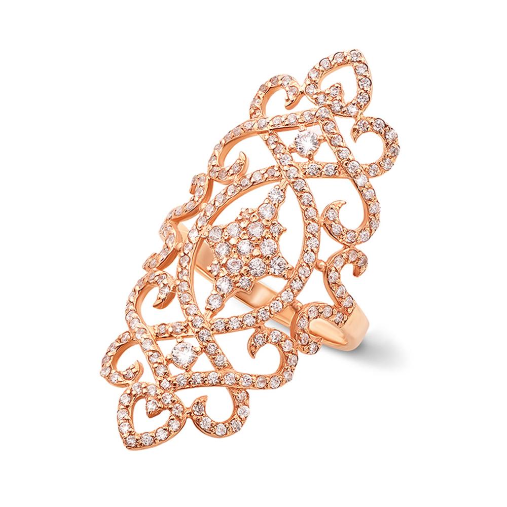 Фаланговое золотое кольцо с фианитами. Артикул 12625