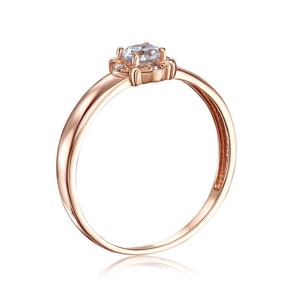 Золотое кольцо с фианитами. Артикул 12653 сп