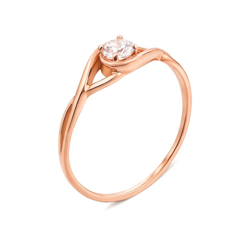 Золотое кольцо с фианитом. Артикул 12661
