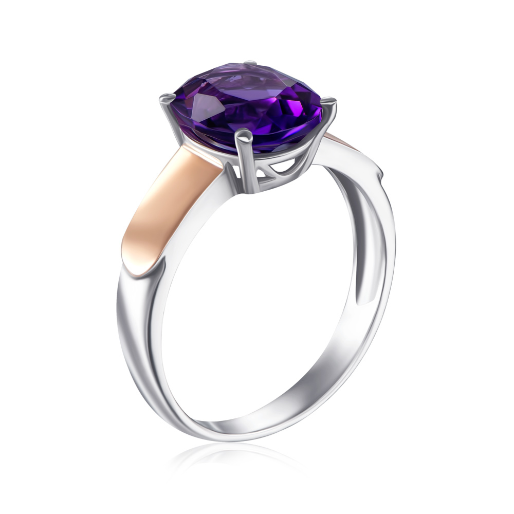 Серебряное кольцо с золотыми вставками с аметистом. Артикул 1267/1р-AMT