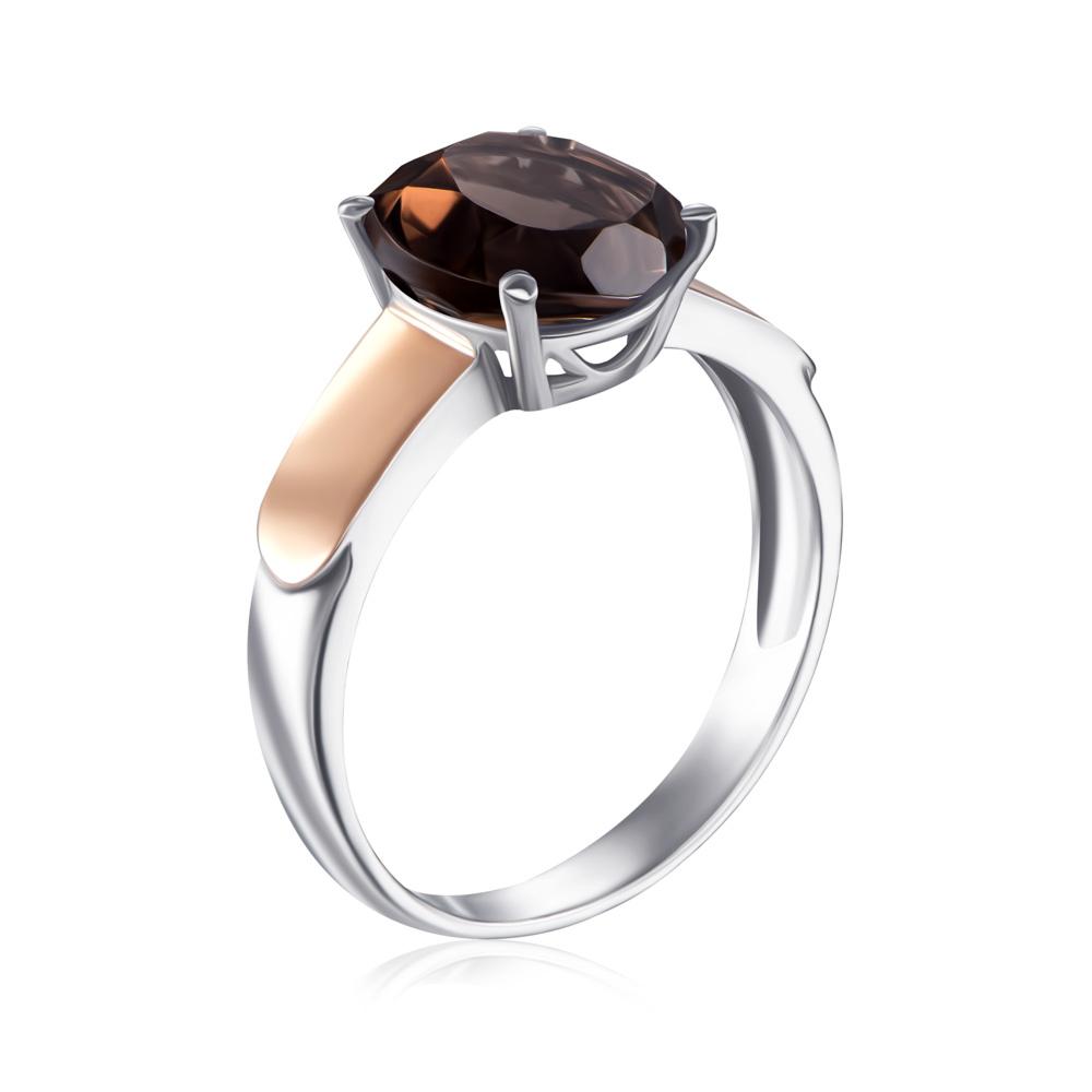 Серебряное кольцо с золотыми вставками с раухтопазом. Артикул 1267/1р-QSM