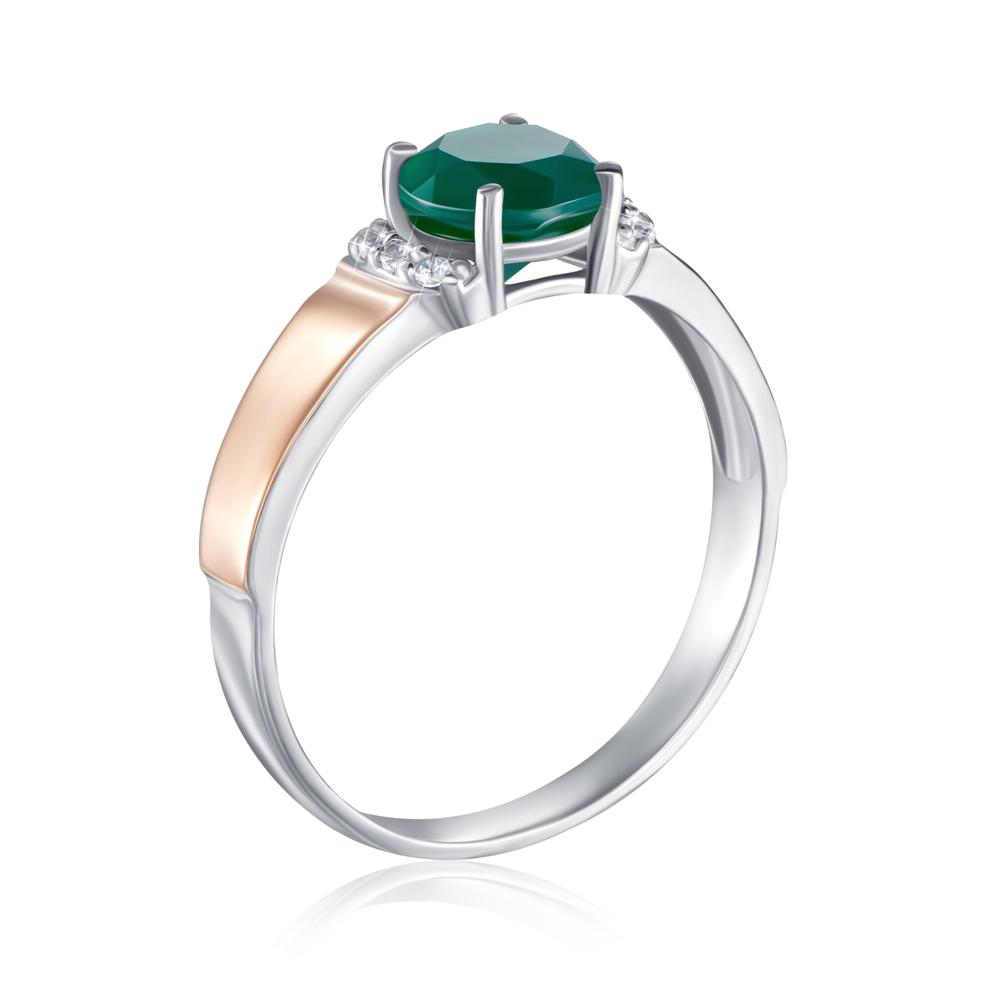 Серебряное кольцо с золотыми вставками с агатом. Артикул 1268/1р-GAG