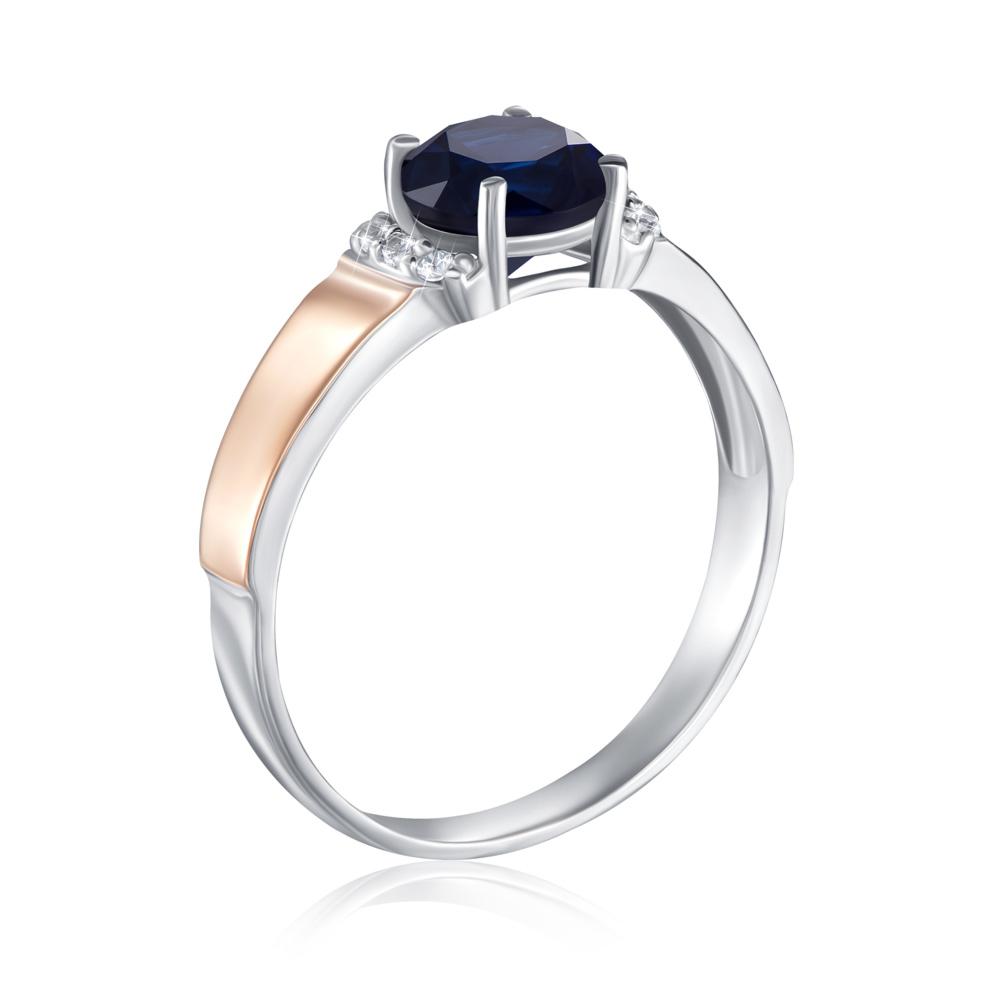 Серебряное кольцо с золотыми вставками с сапфиром. Артикул 1268/1р-HSPH