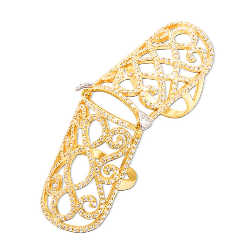 Золота каблучка-бандаж з фіанітами. Артикул 12685/eu