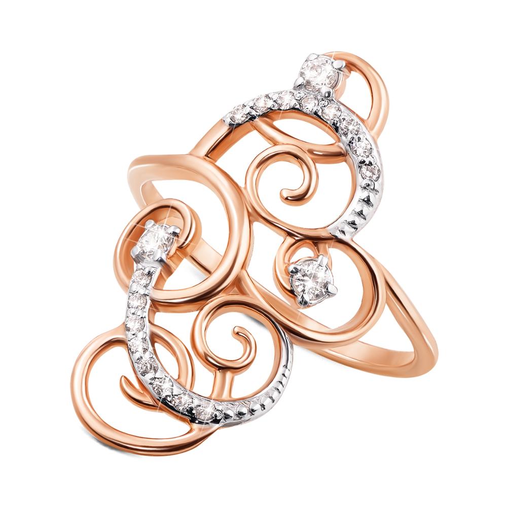 Золотое кольцо с фианитами. Артикул 12686