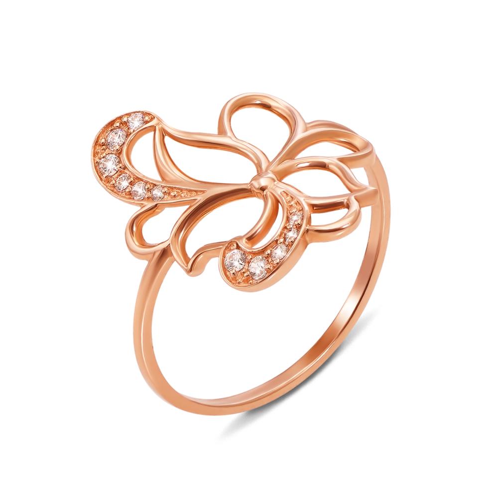 Золотое кольцо с фианитами. Артикул 12708