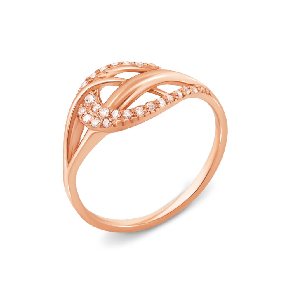 Золотое кольцо с фианитами. Артикул 12733