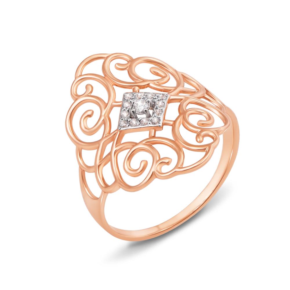Золотое кольцо с фианитами. Артикул 12797