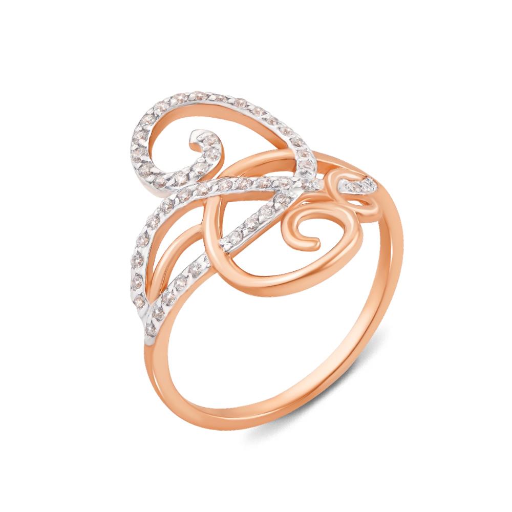 Золотое кольцо с фианитами. Артикул 12799 с