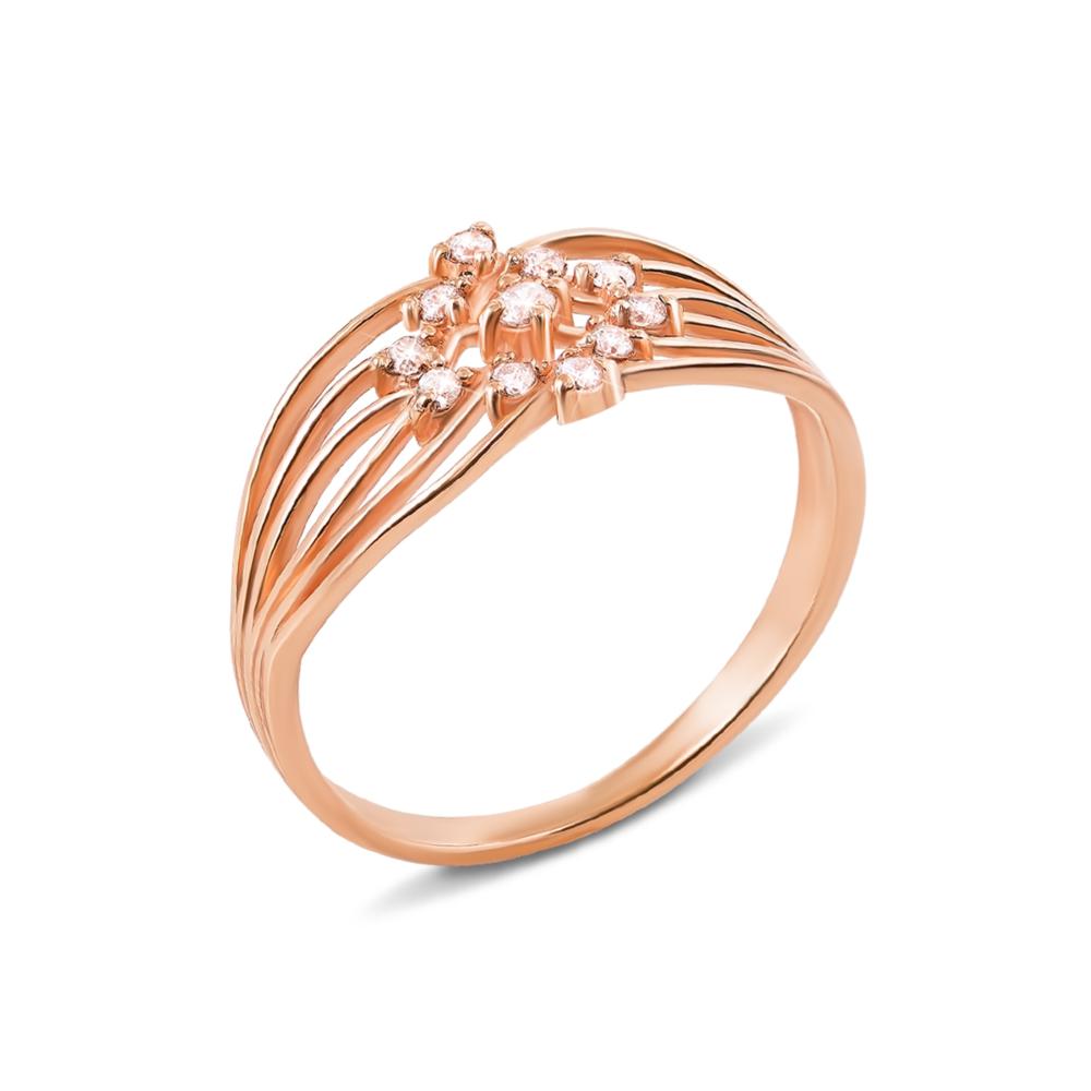 Золотое кольцо с фианитами. Артикул 12840