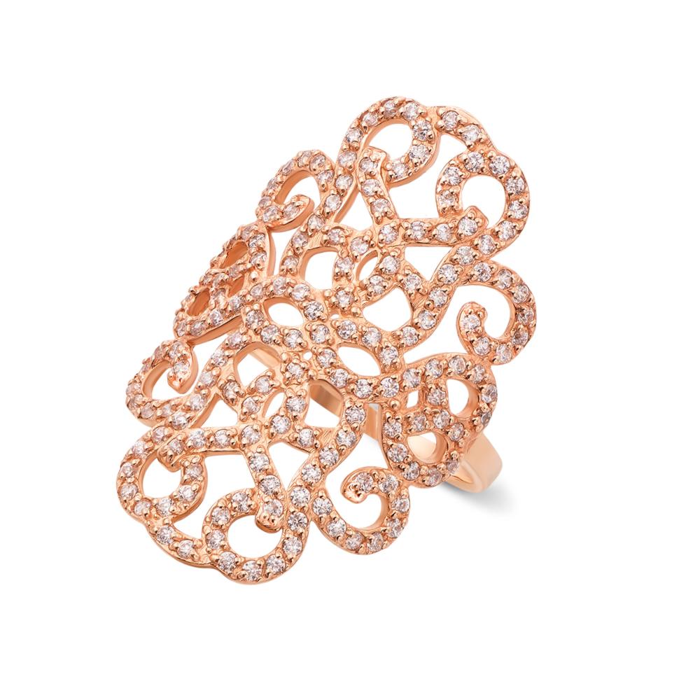 Фаланговое золотое кольцо с фианитами. Артикул 12842