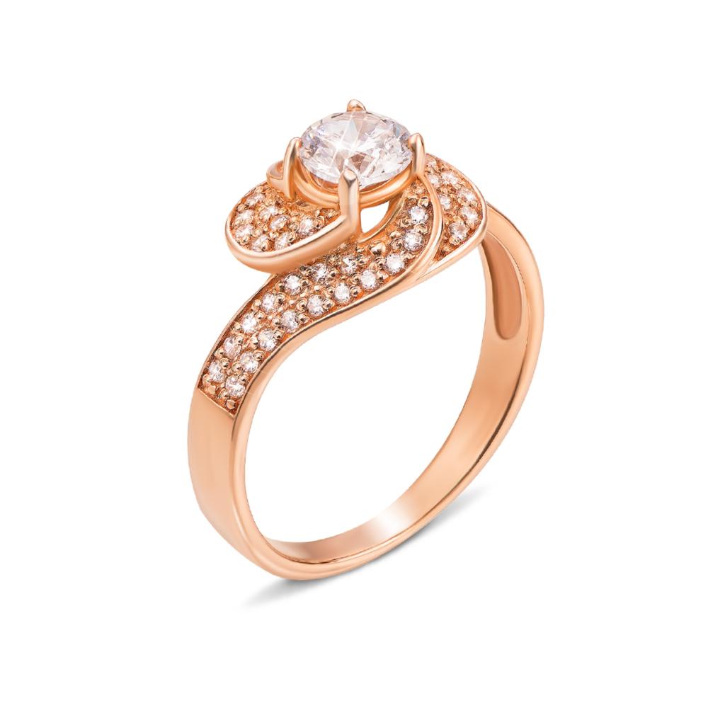 Золотое кольцо с фианитами. Артикул 12850