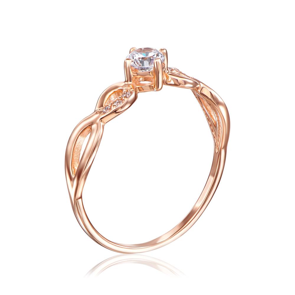 Золотое кольцо с фианитами. Артикул 12866