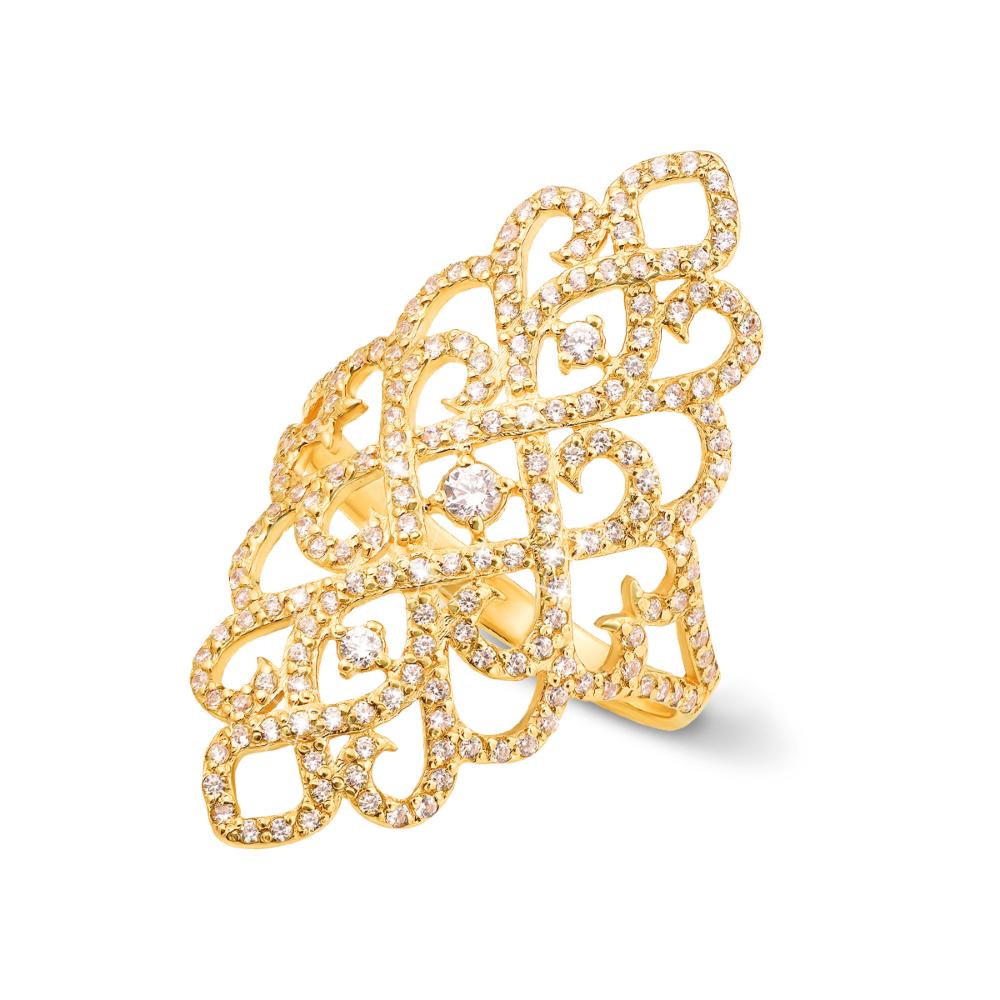 Фаланговое золотое кольцо с фианитами. Артикул 12886/eu