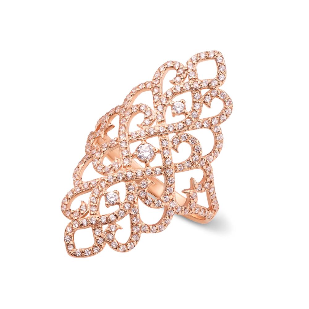 Фаланговое золотое кольцо с фианитами. Артикул 12886
