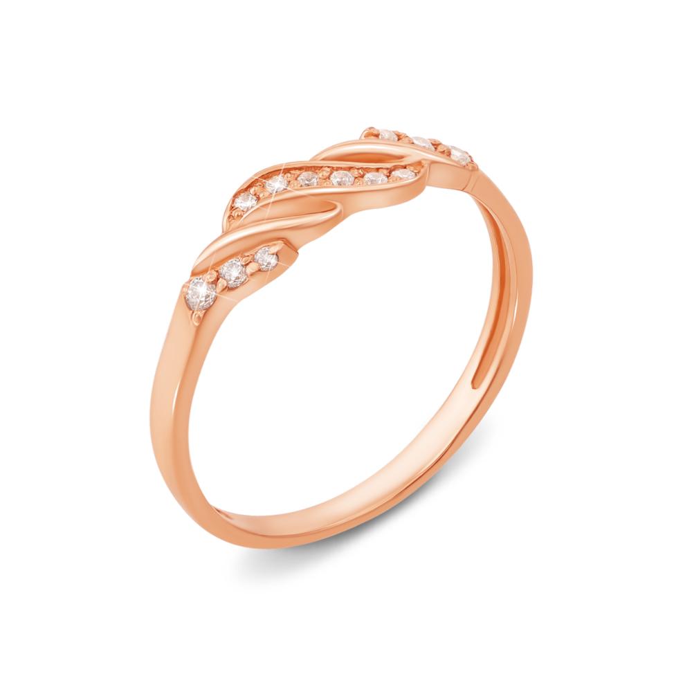 Золотое кольцо с фианитами. Артикул 12887
