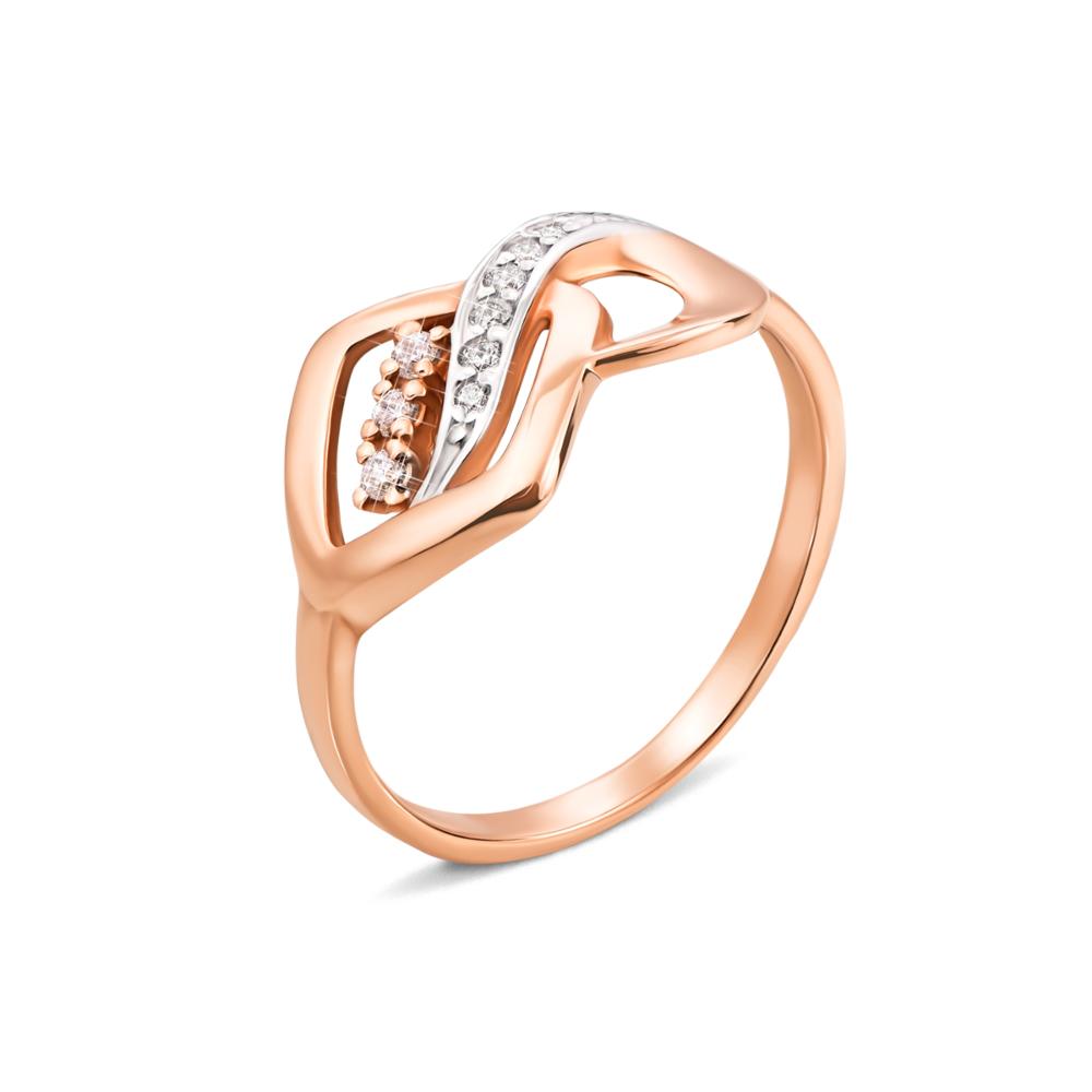 Золотое кольцо с фианитами. Артикул 12888