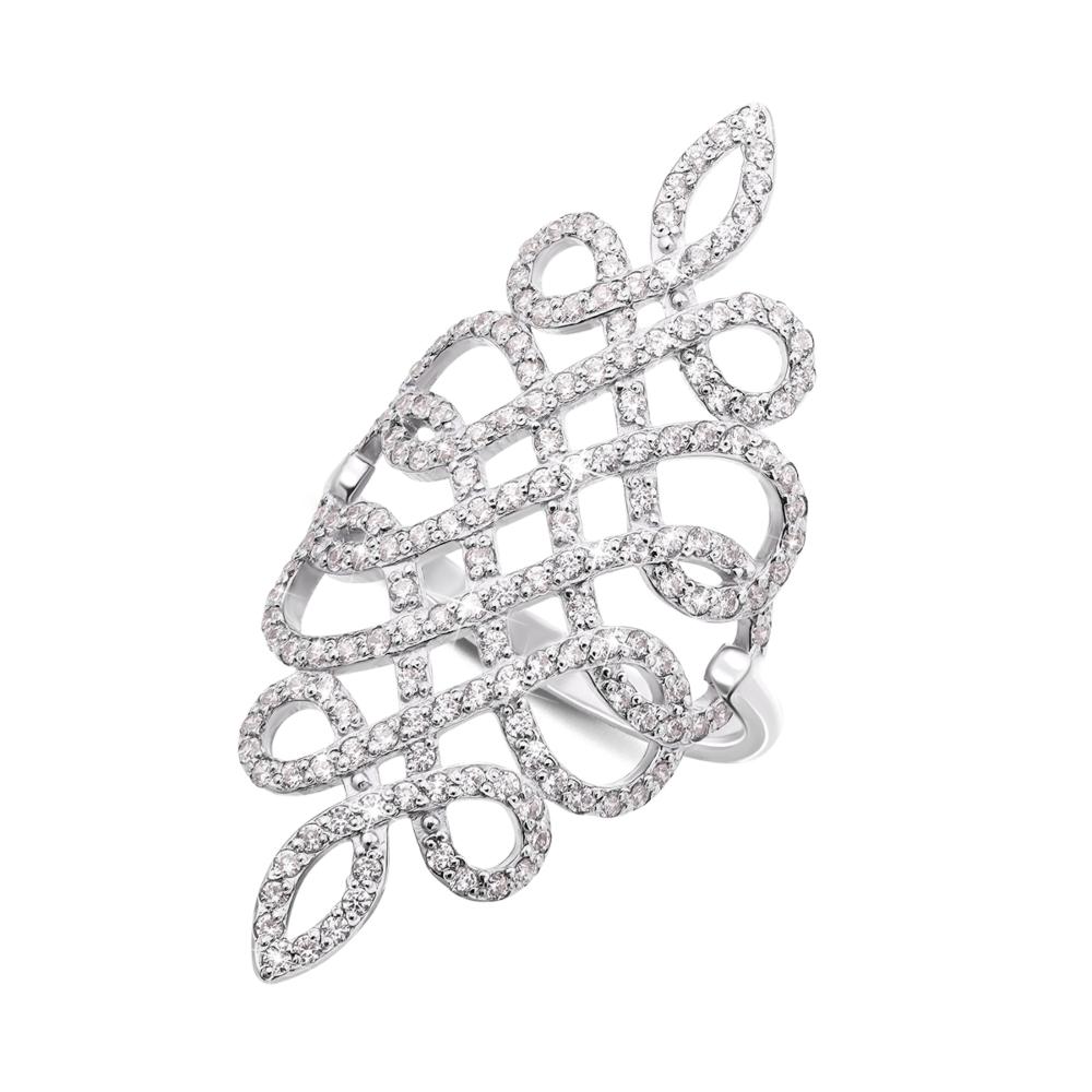 Фаланговое золотое кольцо с фианитами. Артикул 12893/б