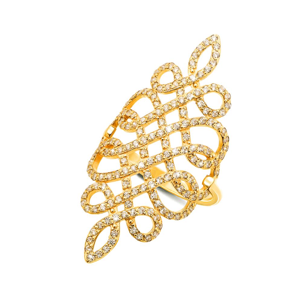Фаланговое золотое кольцо с фианитами. Артикул 12893/eu