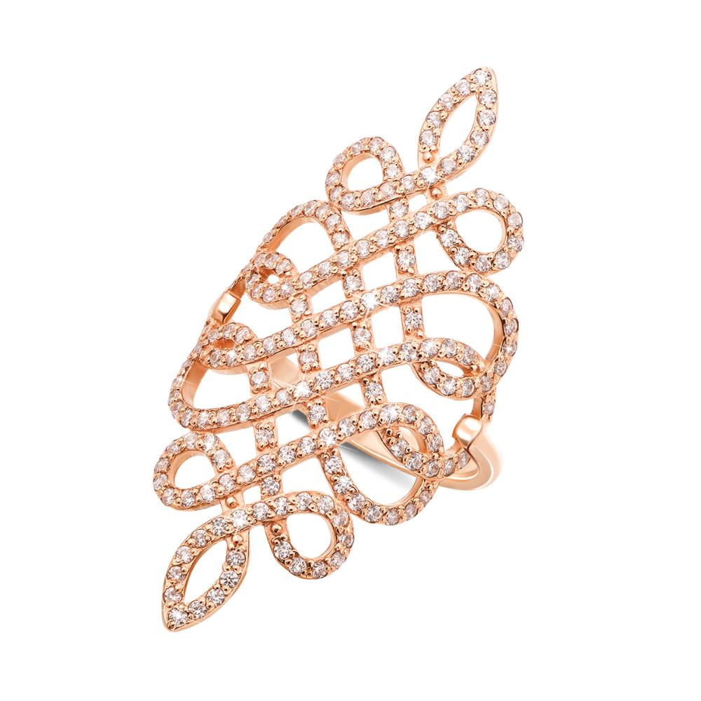 Фаланговое золотое кольцо с фианитами. Артикул 12893