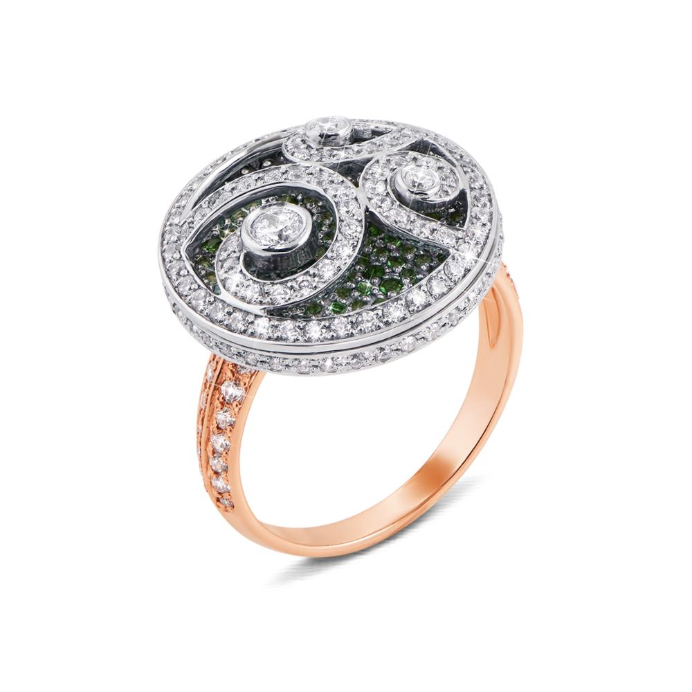 Золотое кольцо с фианитами. Артикул 12917/цв сп