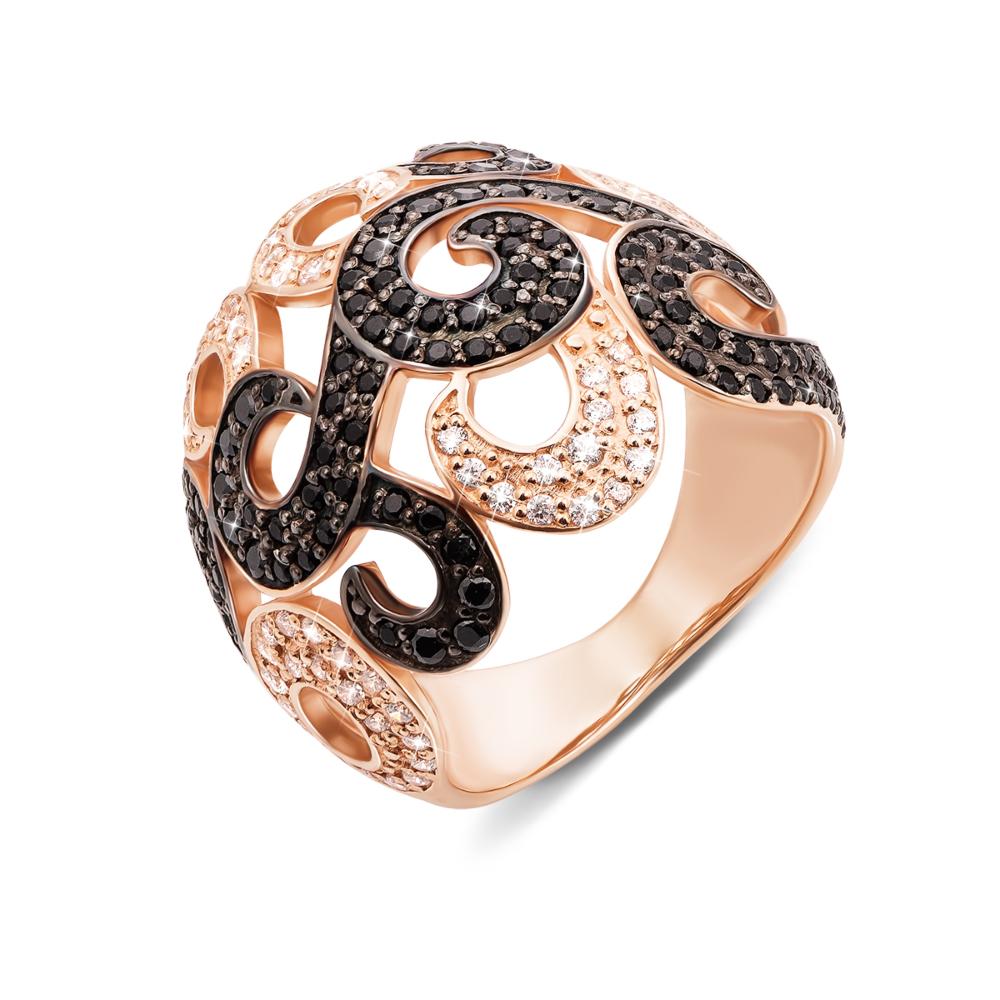 Золотое кольцо с фианитами. Артикул 12921 ч