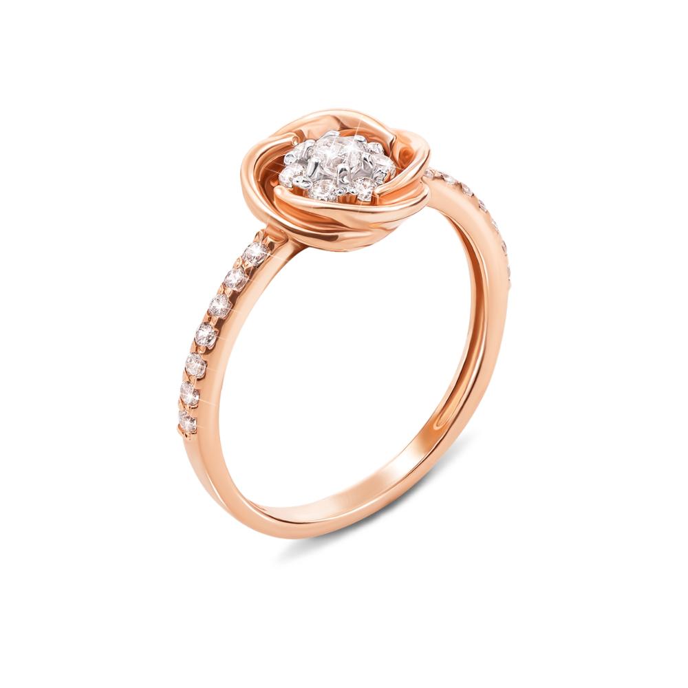 Золотое кольцо с фианитами. Артикул 12923 сп